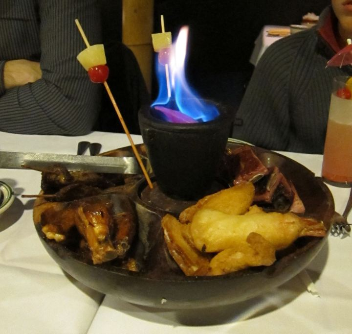 Flaming Pu-Pu Platter at Jade Island in Staten Island, New York