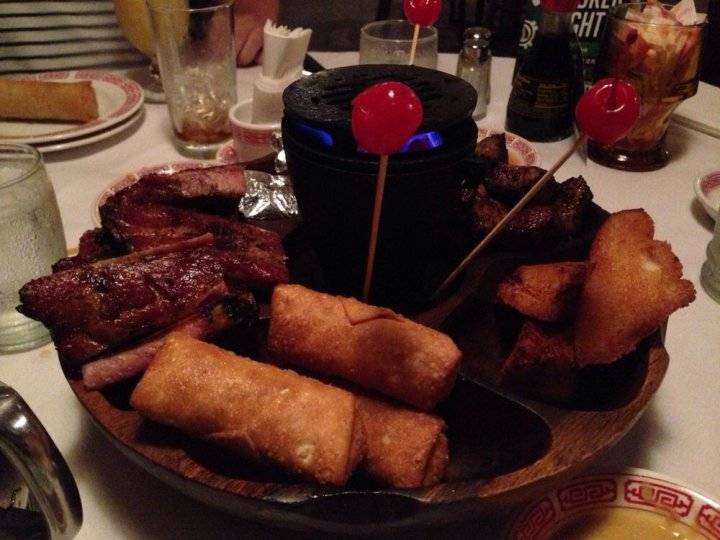 Flaming Pu-Pu Platter at Lun Wah in Roselle, NJ, photo from Liz S. on Yelp