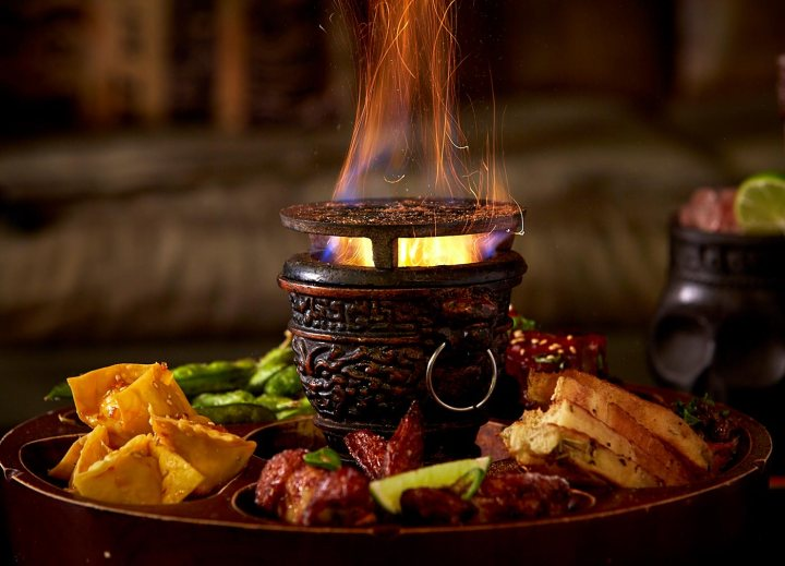 The Flaming Pu-Pu Platter at Rhum Food + Grog in Portland, Maine