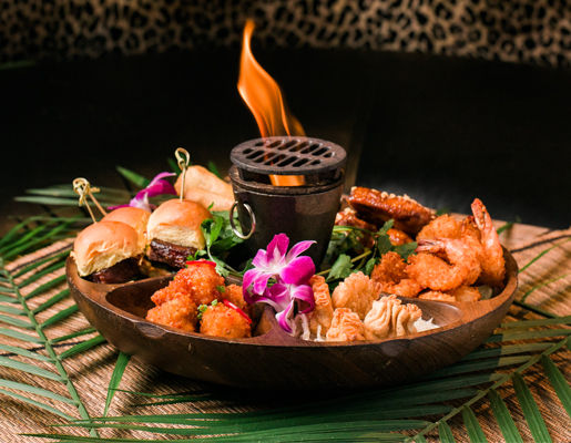 Flaming Pu-Pu Platter at Three Dots and a Dash in Chicago, Illinois