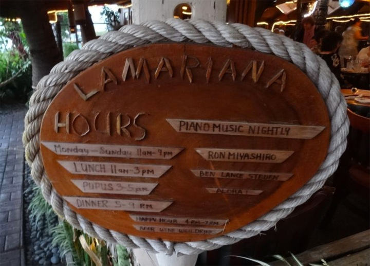 Hours for La Mariana in Honolulu, photo by Critiki member codman