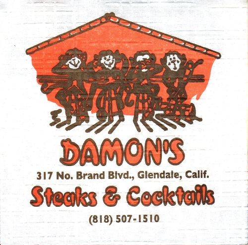 Napkin from Damon's in Glendale, CA, from the collection of Critiki member kenbo-jitsu