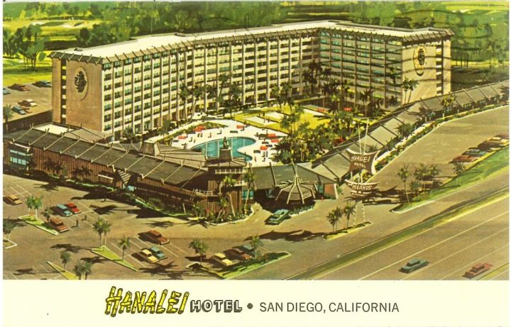 Circa 1960s postcard from the Hanalei Hotel, from the collection of Dustycajun