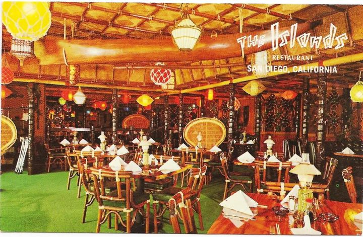 Circa 1960s postcard from The Islands restaurant at the Hanalei Hotel, from the collection of Dustycajun