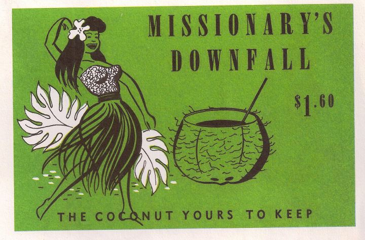 Detail of a menu from the Aloha Room in Portland, from the collection of Dustycajun