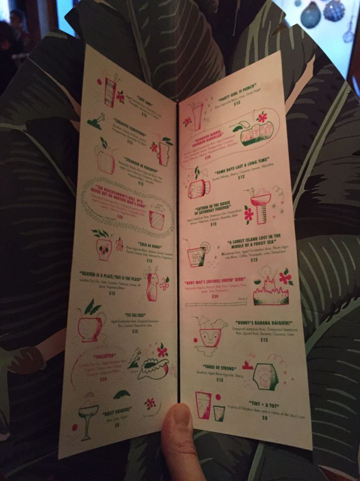 Drink menu at Lost Lake in Chicago, photo by Critiki member Hang10Tiki