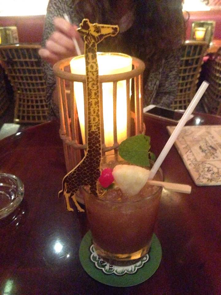 Longitude's giraffe swizzle photographed by Lisa Michelle at a Trader Vic's in Dubai